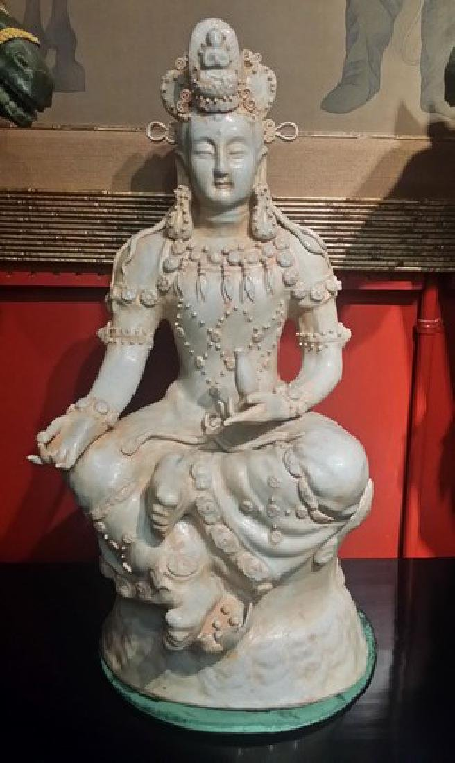 Old Chinese Ceramic Guan Yin Sculpture