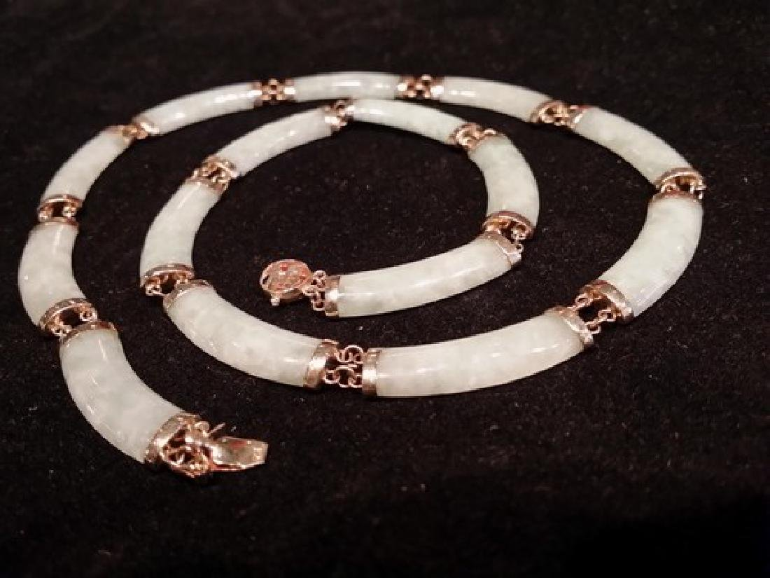 "14K Gold Natural Chinese Jade Link Necklace 16"", 24gr"