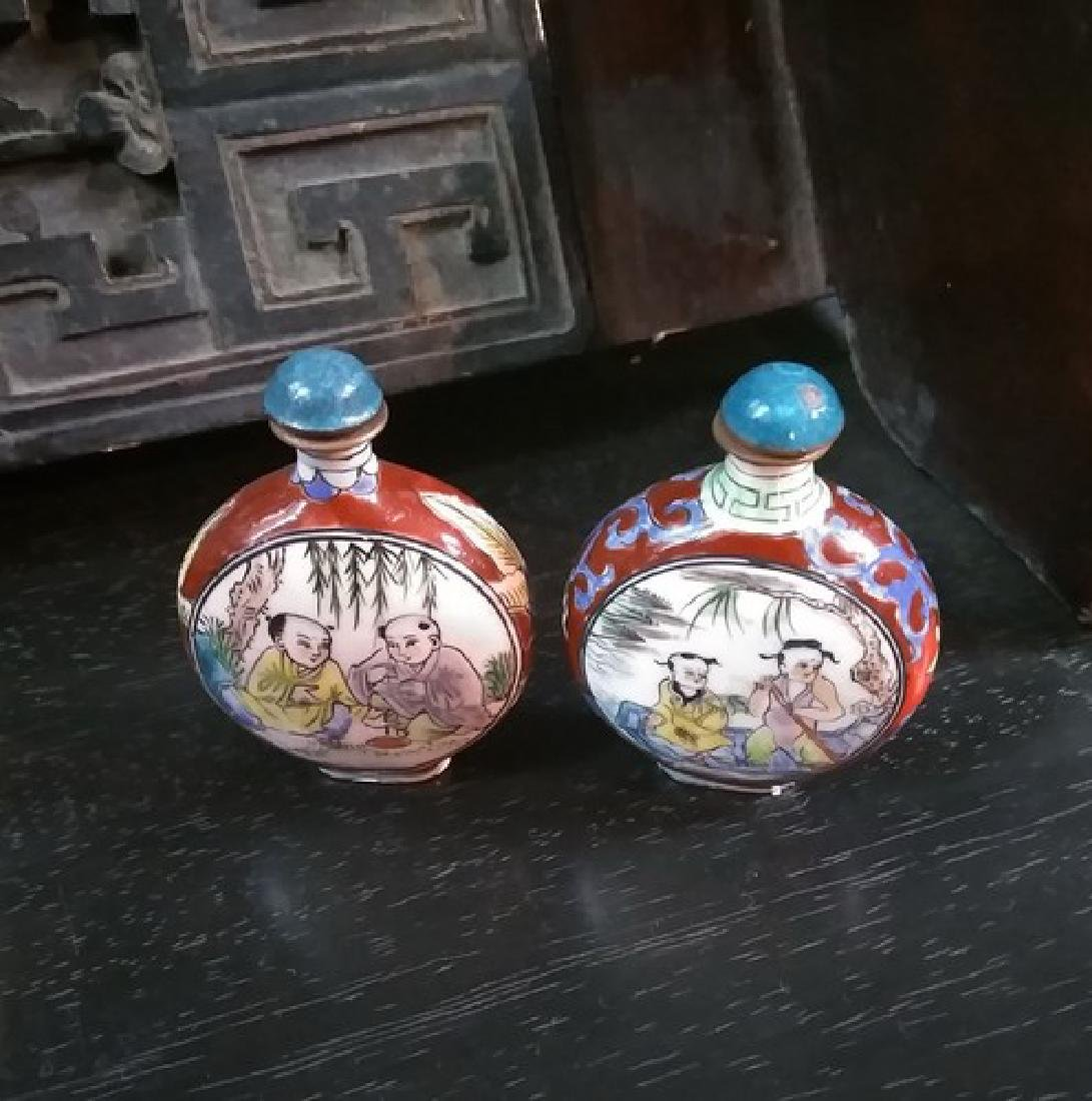 Pair of Collectible Chinese Porcelain Enamel Snuff