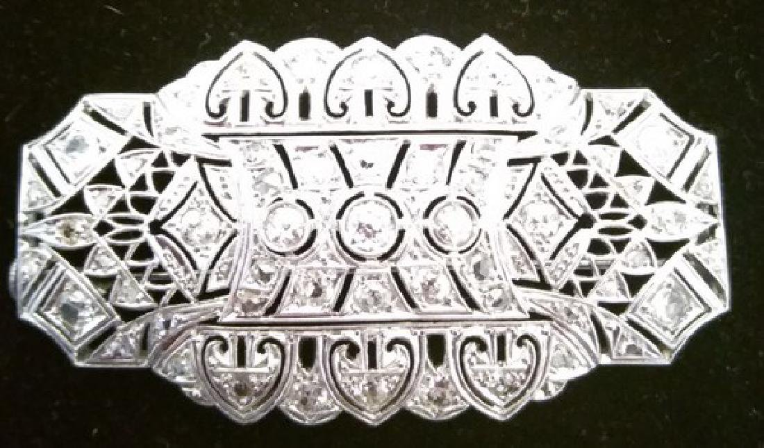 Art Deco 14K Gold & Diamond Brooch