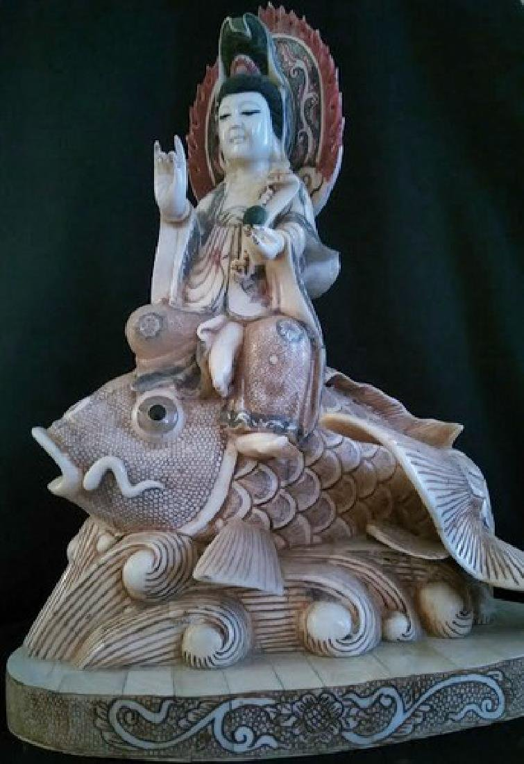 Beautiful Antique Chinese Ivory Goddess on Koi Fish w.