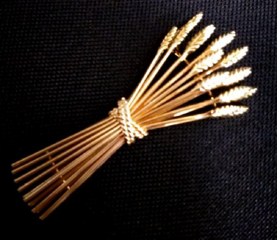 Tiffany & Co 18K Gold Brooch of Wheat Bouquet