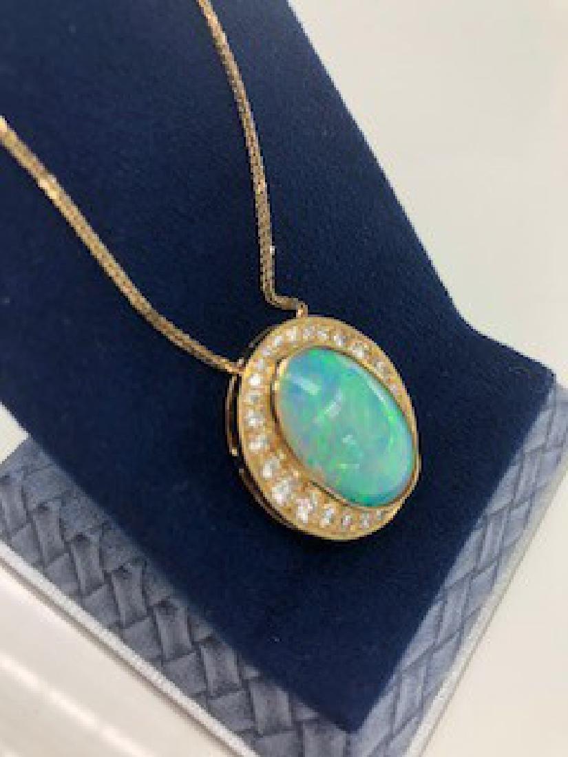 Fine Australian Black Opal & Diamond Pendant in Yellow - 3