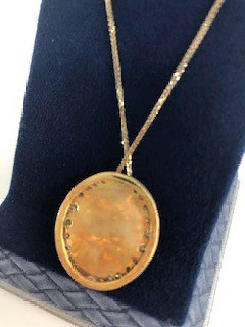 Fine Australian Black Opal & Diamond Pendant in Yellow - 4
