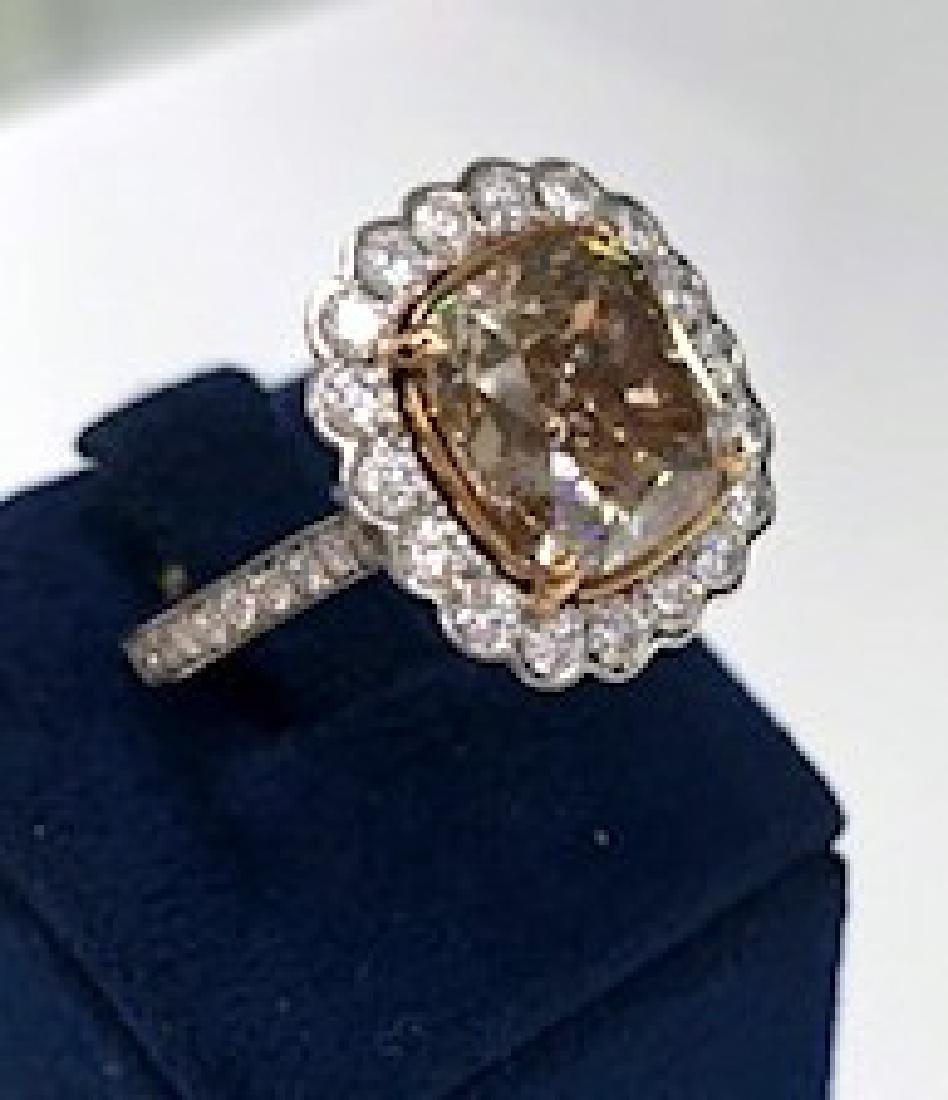 GIA Certified Fancy Brown Diamond Ring in Platinum