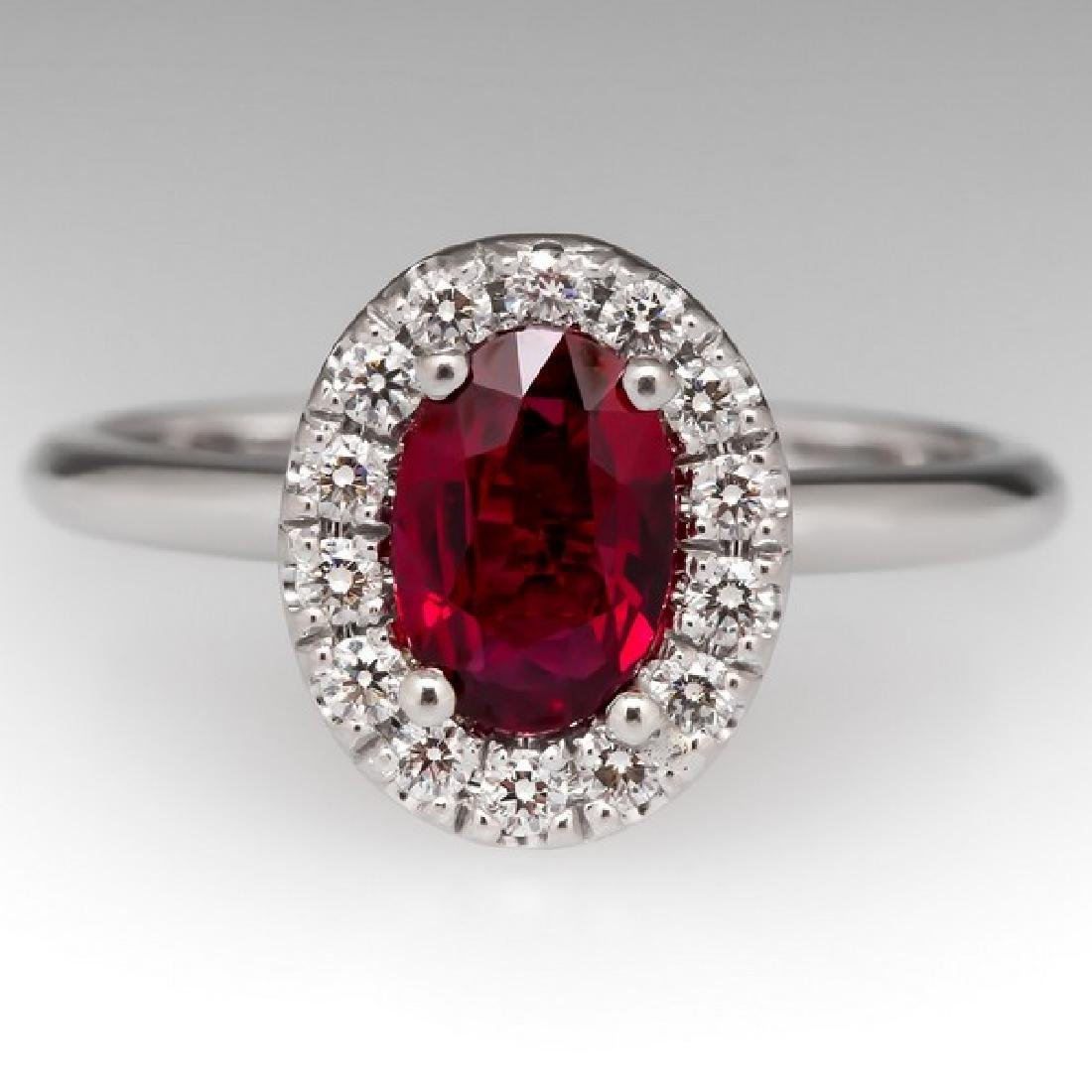 CERTIFIED 18K GOLD NATURAL RUBY & DIAMOND HALO RING