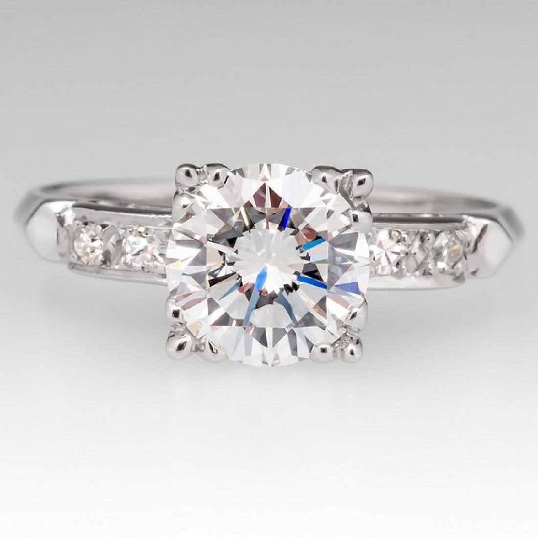 VINTAGE PLATINUM GIA DIAMOND ENGAGEMENT RING