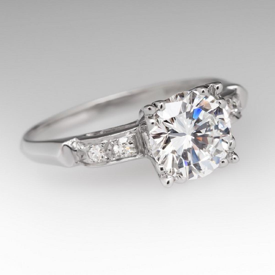 VINTAGE PLATINUM GIA DIAMOND ENGAGEMENT RING - 2