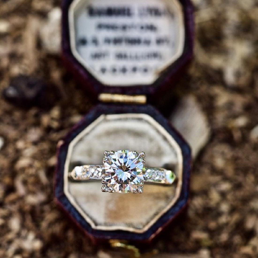 VINTAGE PLATINUM GIA DIAMOND ENGAGEMENT RING - 6
