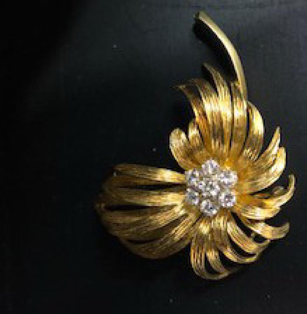 Antique French Diamond Brooch in 18K Gold