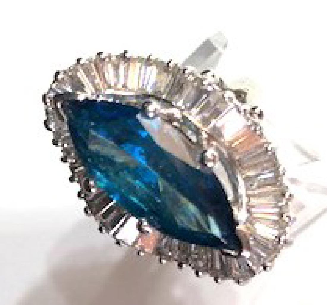Platinum Blue Diamond Ballerina Cocktail Ring