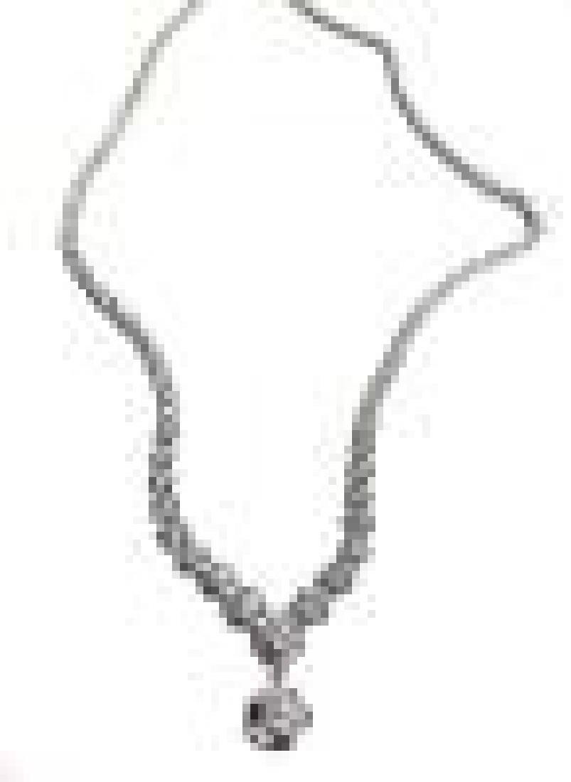 Designer Diamond Tennis Necklace in White Gold - 2