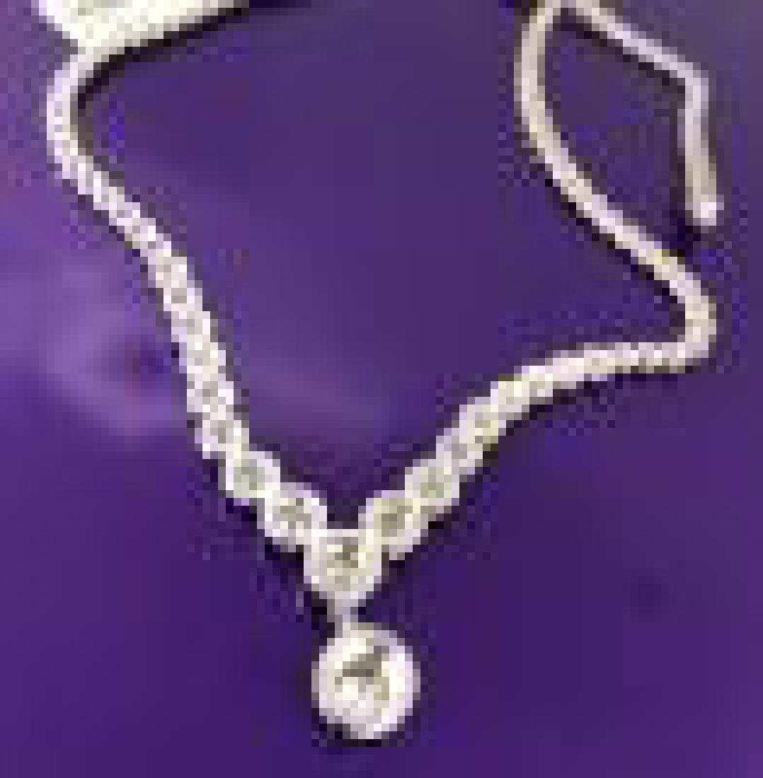 Designer Diamond Tennis Necklace in White Gold - 3