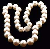Certified White Pearl Strand w/ 18k Gold Diamond