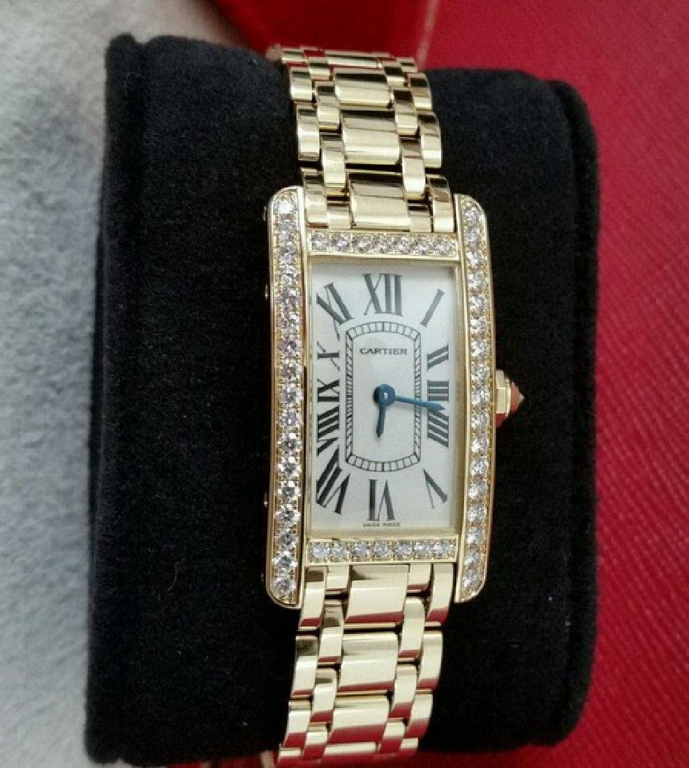 Cartier Watch ( Tank in 18K Yellow Gold w. Diamonds) - 3
