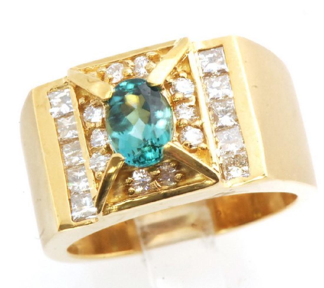Certified 18K Gold Ring w. Tourmaline & Diamonds