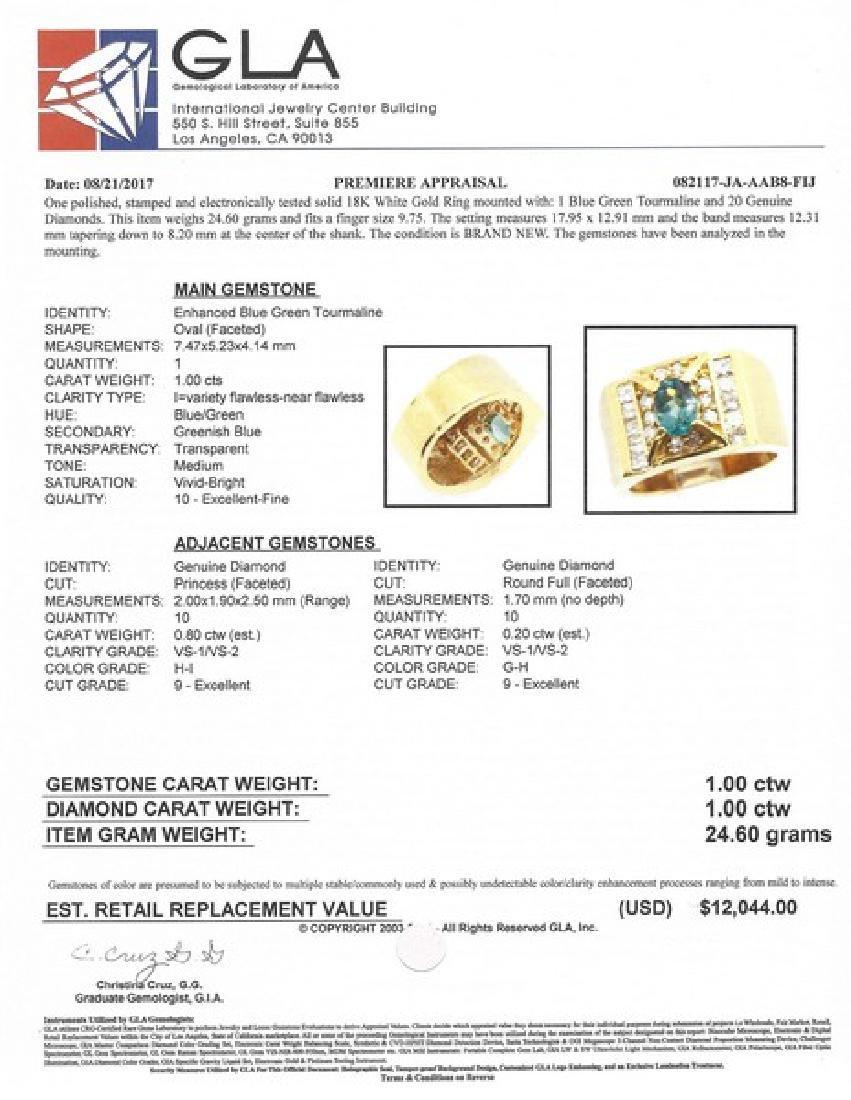 Certified 18K Gold Ring w. Tourmaline & Diamonds - 2