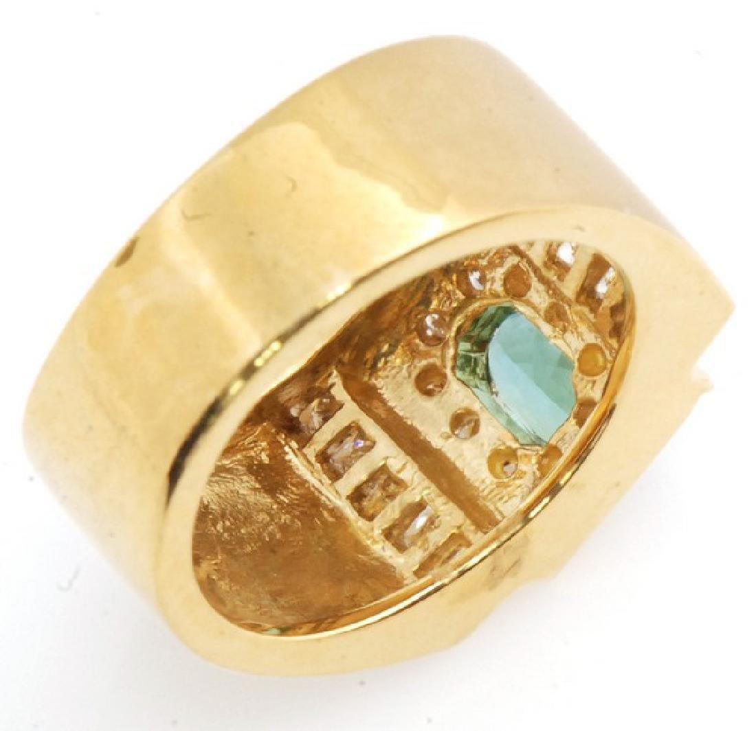 Certified 18K Gold Ring w. Tourmaline & Diamonds - 3