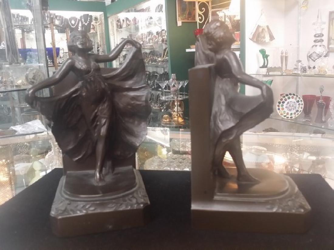 Antique Art Deco Bronze Bookends (Bronze Clad) - 2