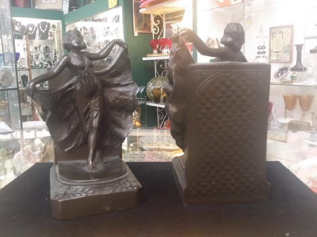Antique Art Deco Bronze Bookends (Bronze Clad) - 3