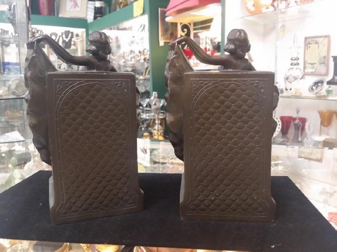 Antique Art Deco Bronze Bookends (Bronze Clad) - 4