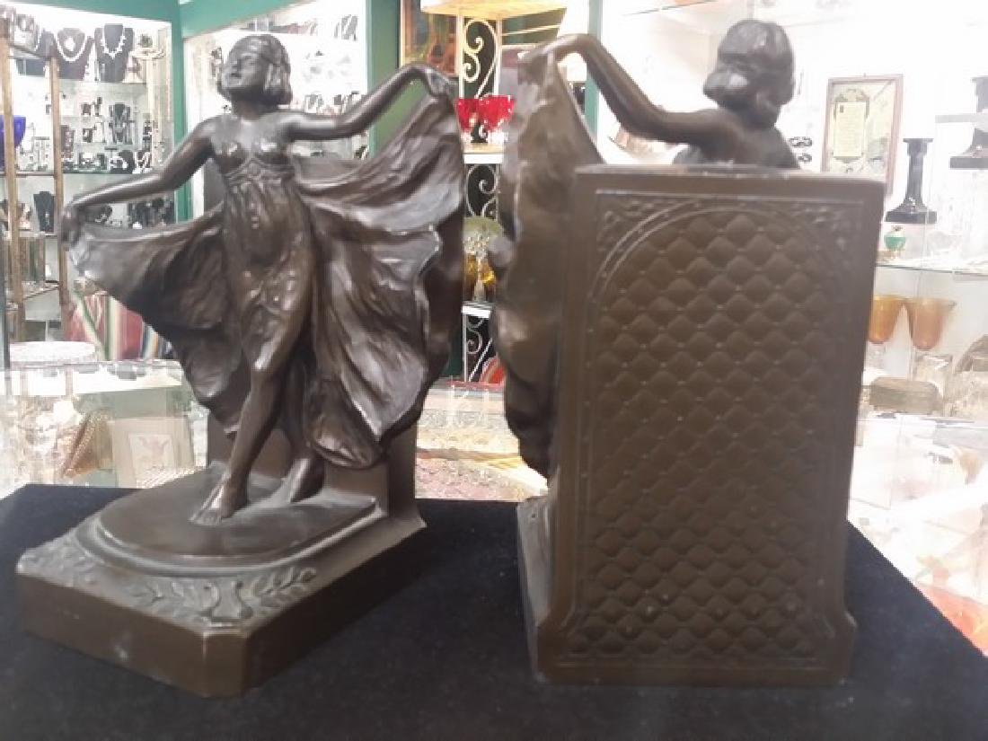 Antique Art Deco Bronze Bookends (Bronze Clad) - 5