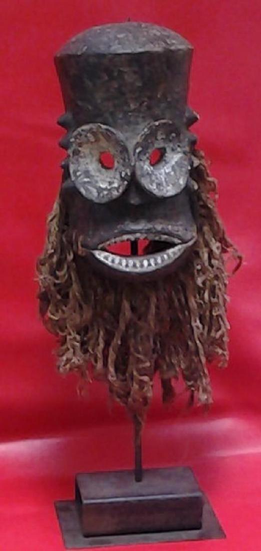 """Antique Bronze African Dan Mask 18"""", 5-lbs - 3"""