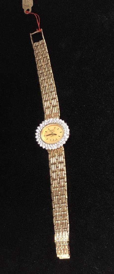 14K Yellow Gold Geneva Ladies Watch with Diamond Bezel
