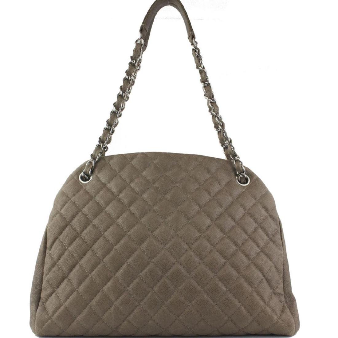 CHANEL Taupe Quilted  Bowling Bag