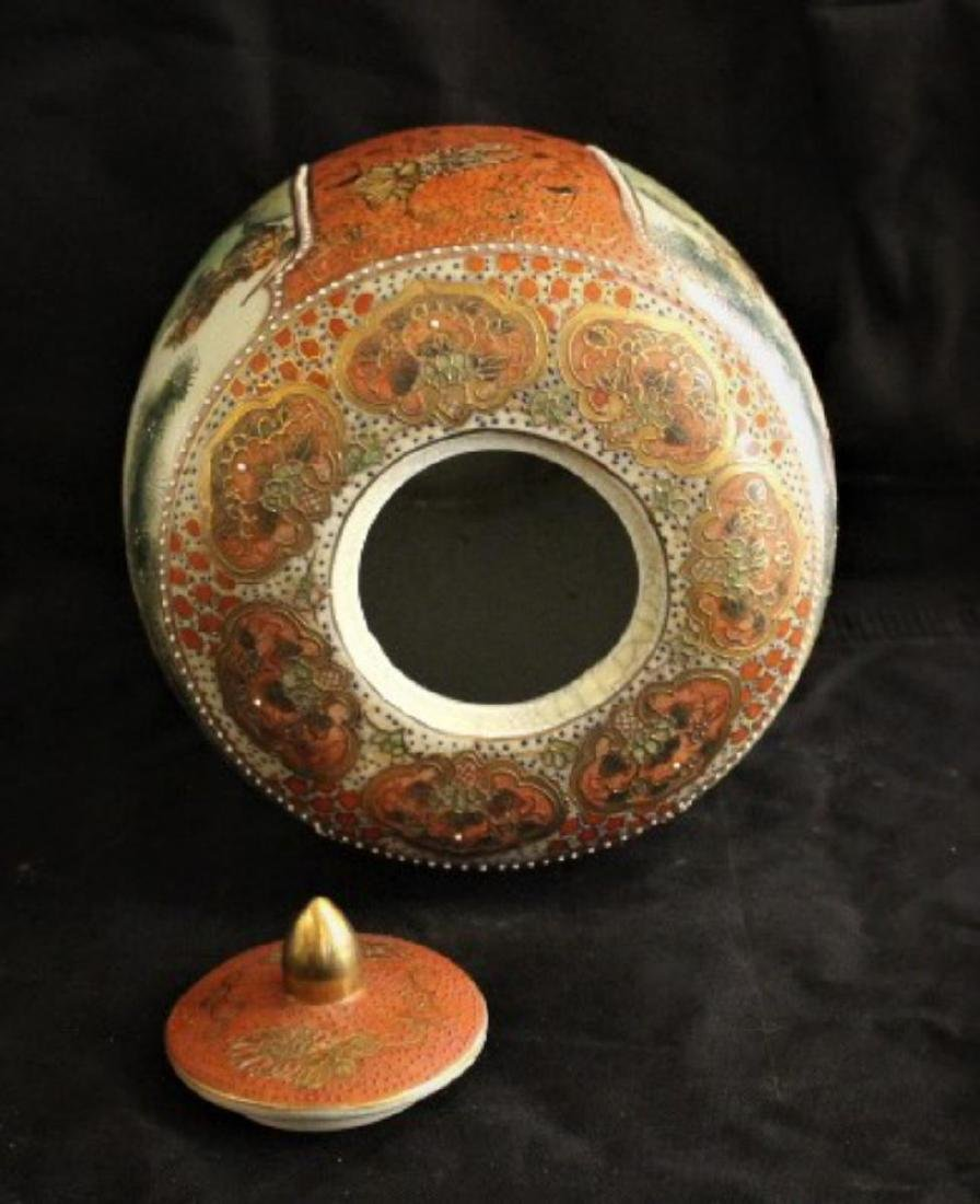 "Antique Chinese Hand Painted Porcelain Urn 12"", 7-lbs - 7"