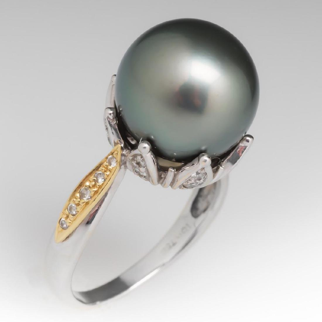 18K Gold Black Tahitian Pearl Ring w. Diamonds - 2