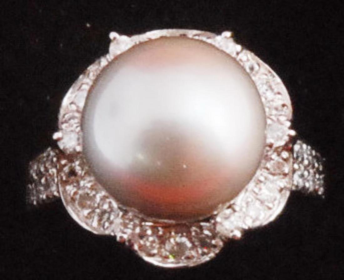 14k Gold Black Tahitian Pearl Ring