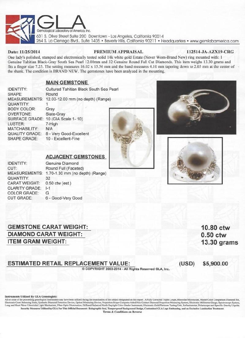 14k Gold Black Tahitian Pearl Ring - 2