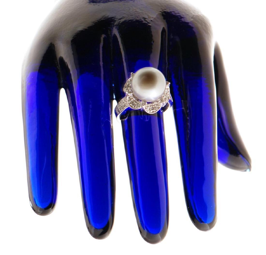 14k Gold Black Tahitian Pearl Ring - 3
