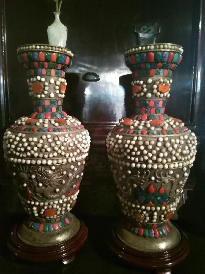 Large Pair of Ancient Silver Tibetan Jeweled Dragon
