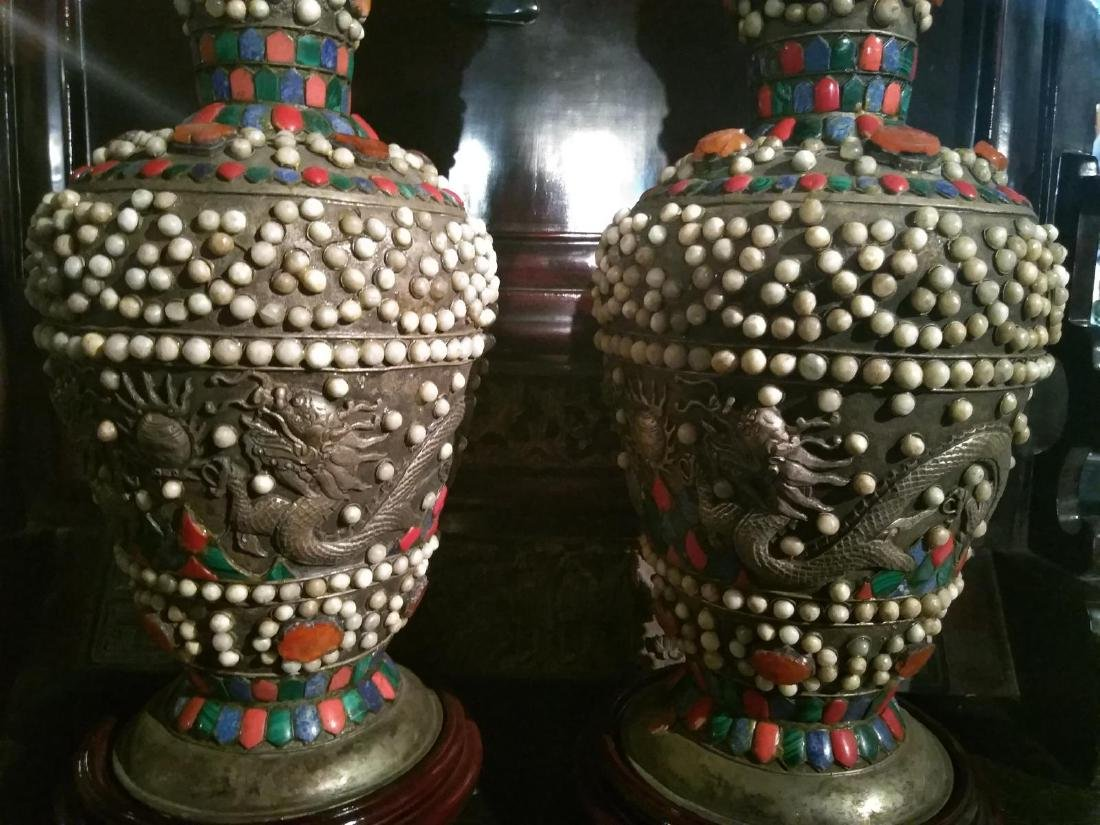 Large Pair of Ancient Silver Tibetan Jeweled Dragon - 2