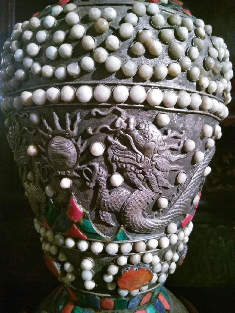 Large Pair of Ancient Silver Tibetan Jeweled Dragon - 3