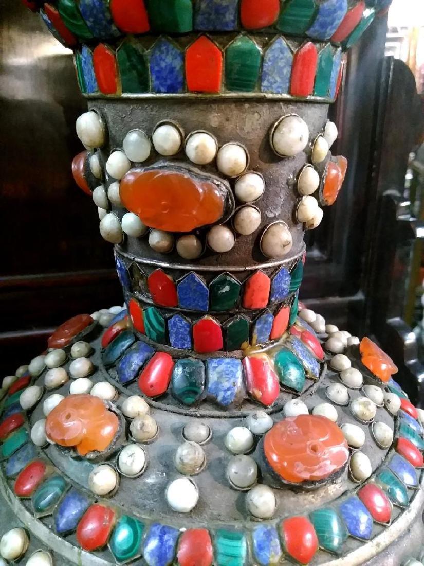 Large Pair of Ancient Silver Tibetan Jeweled Dragon - 4
