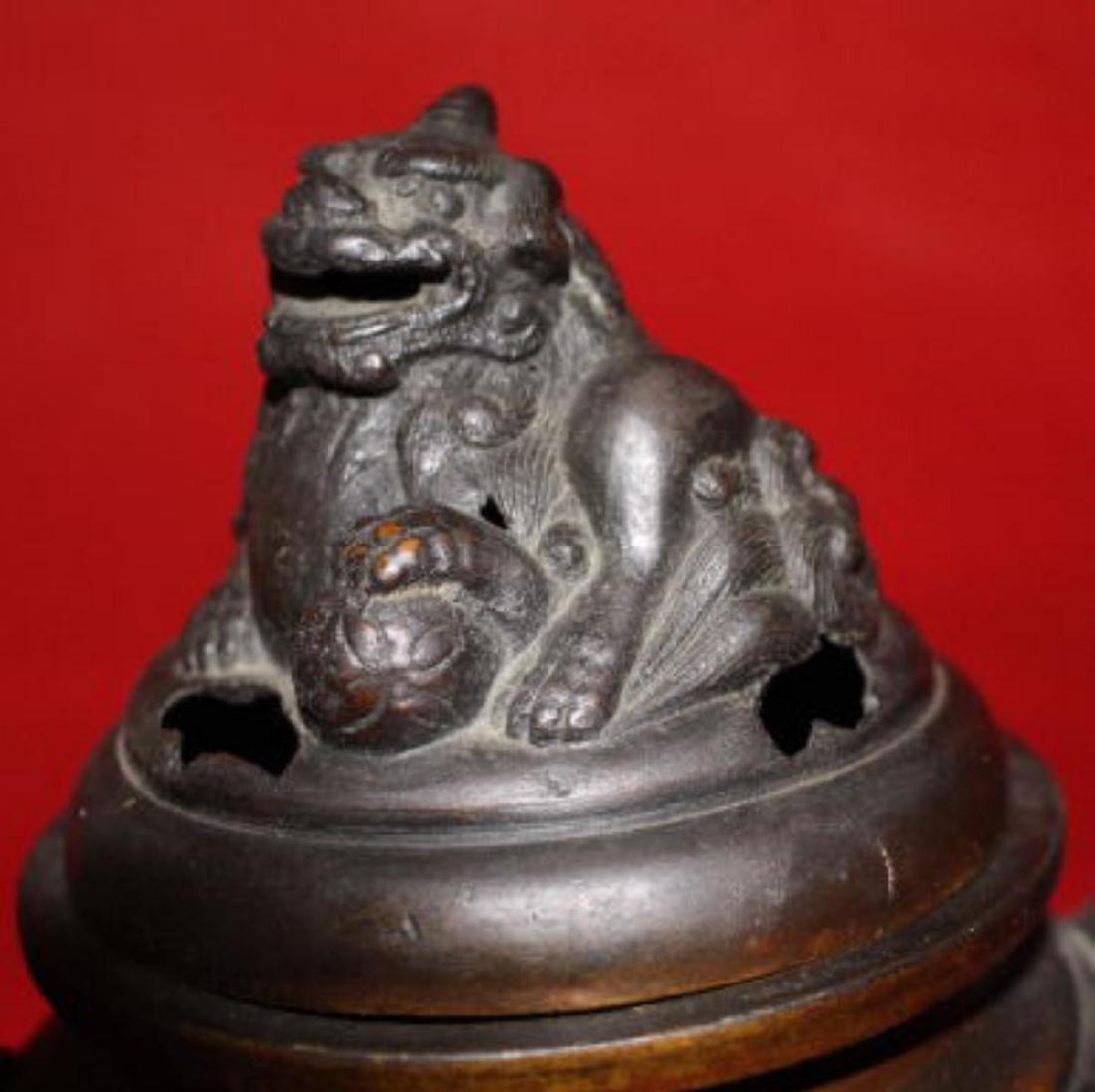 Old Chinese Bronze Tripod Censer - 3