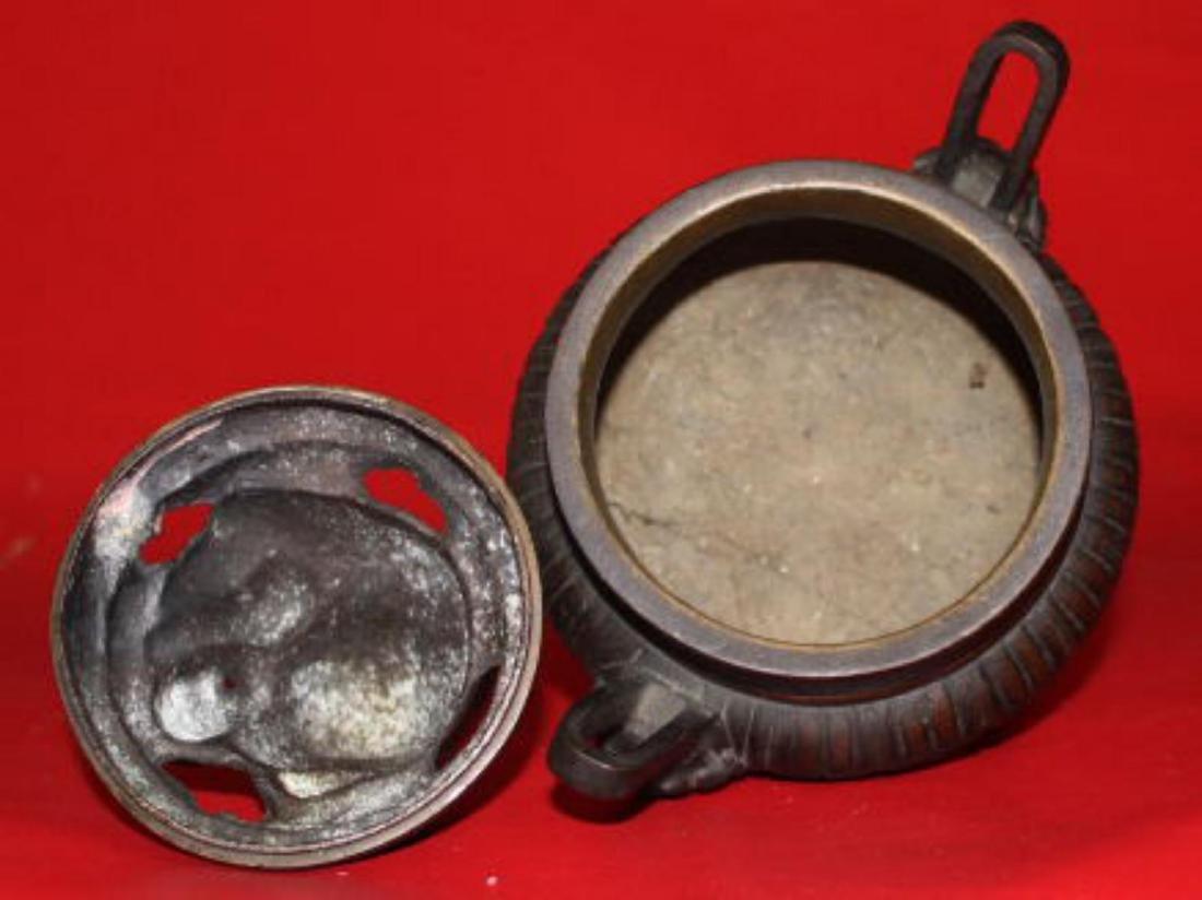 Old Chinese Bronze Tripod Censer - 4