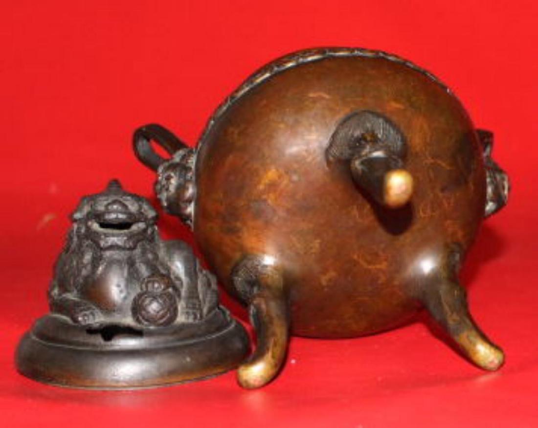 Old Chinese Bronze Tripod Censer - 5