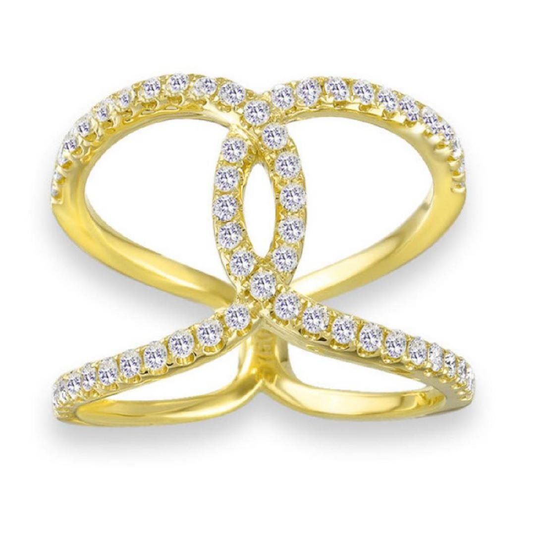 18K DIAMOND BY PASS RING IN YELLOW GOLD