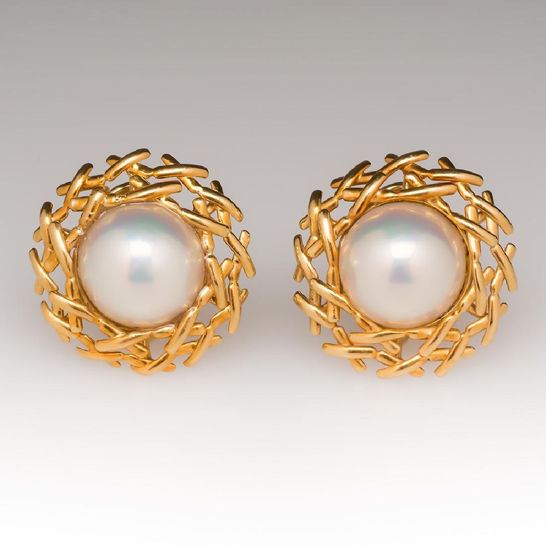 Tiffany & Co 18K Gold Mabe Pearl Earring Clips