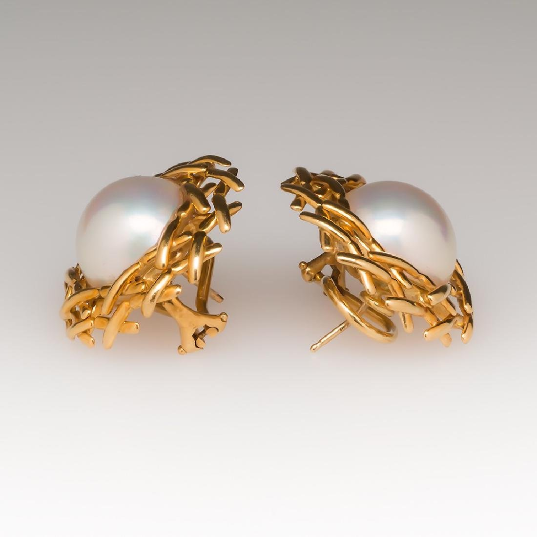 Tiffany & Co 18K Gold Mabe Pearl Earring Clips - 2