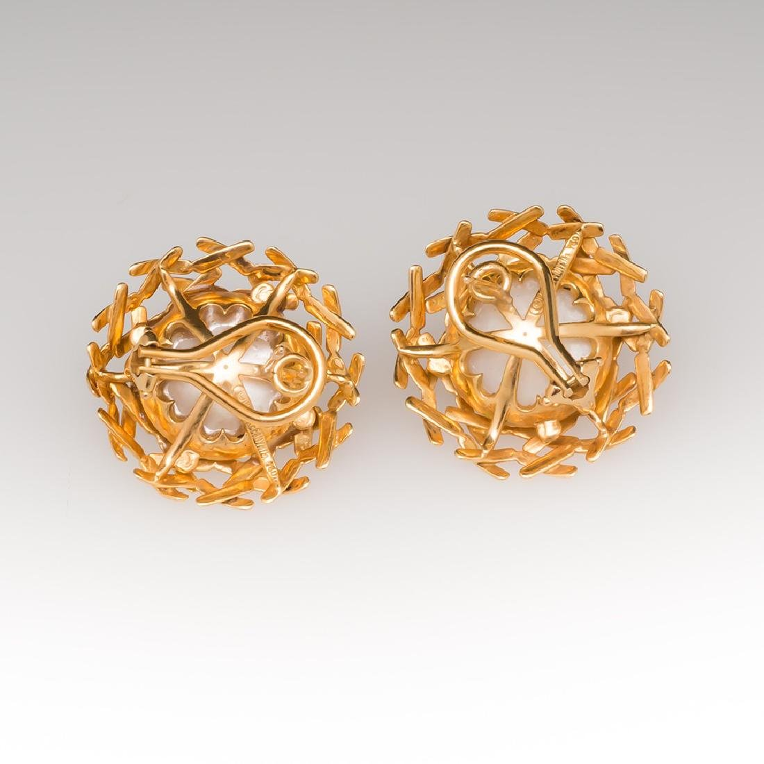 Tiffany & Co 18K Gold Mabe Pearl Earring Clips - 3