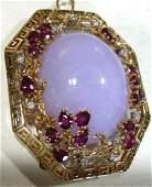 Vintage GIA Cert 18K Gold Lavendar Jade Brooch (Estate)