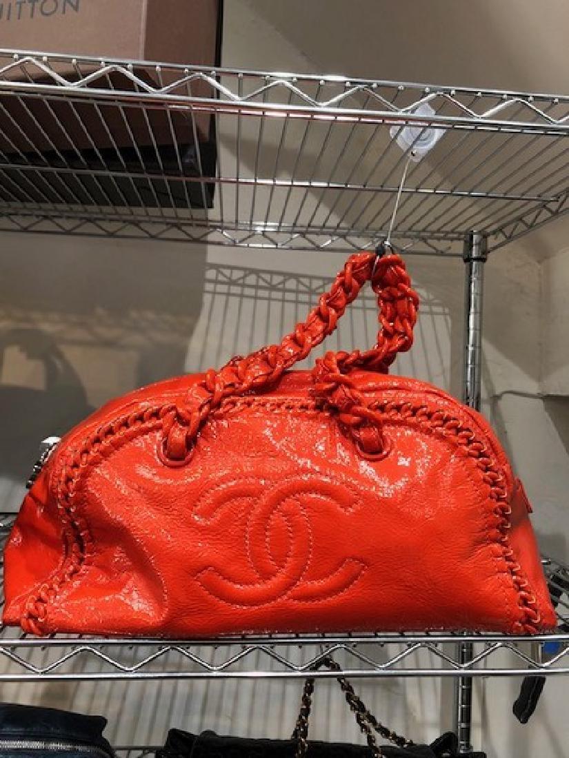 Chanel Orange Patent Leather Handbag