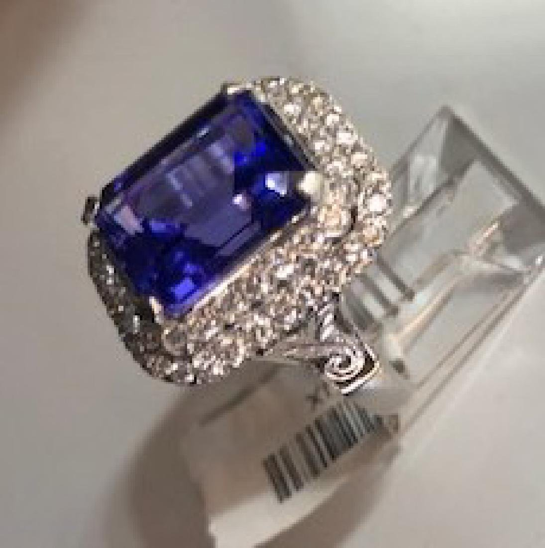 Gold GIA Certified Tanzanite Diamond Cocktail Ring - 2