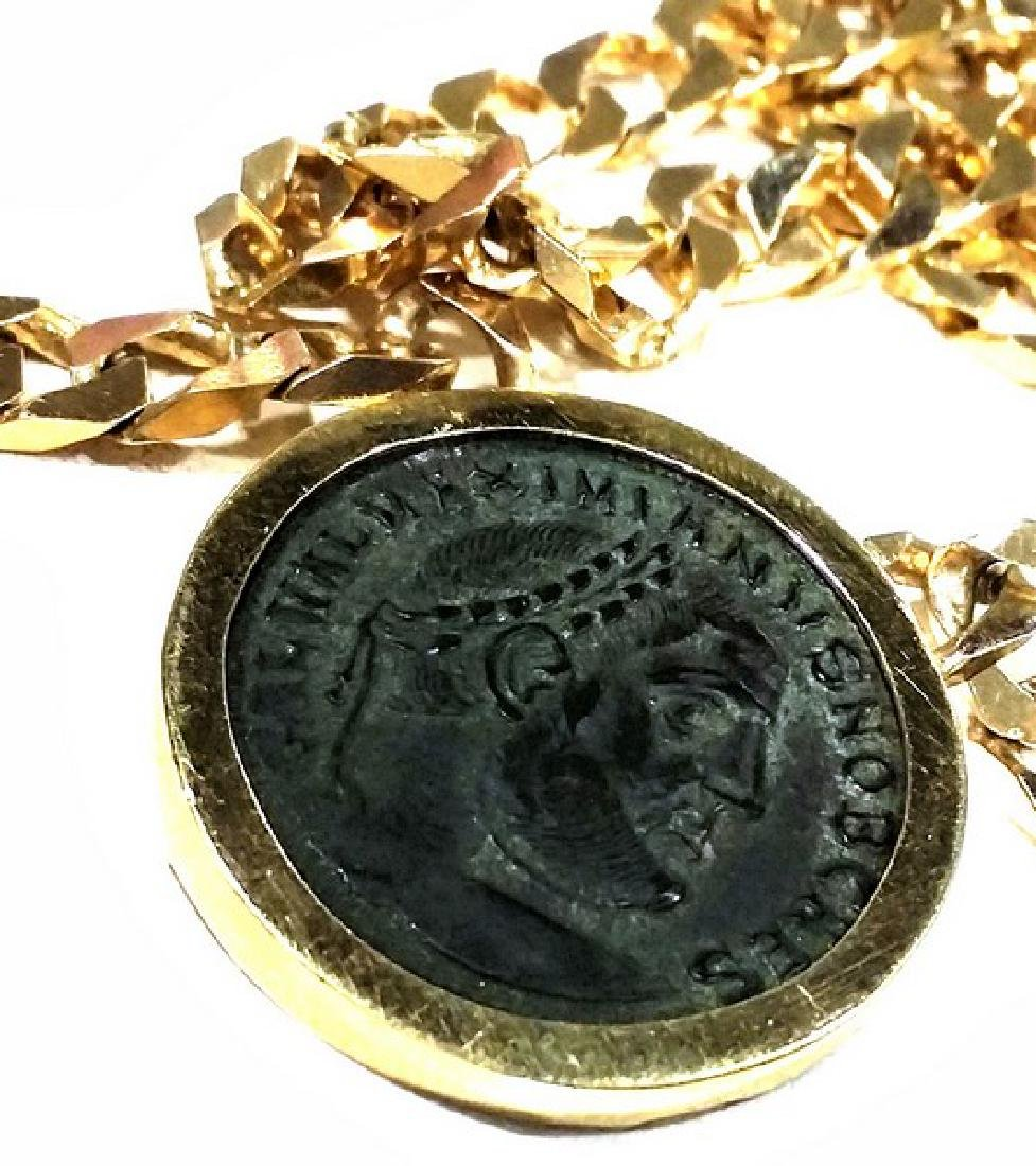 Ancient Roman Coin in 14K Gold w. Chain (Estate)