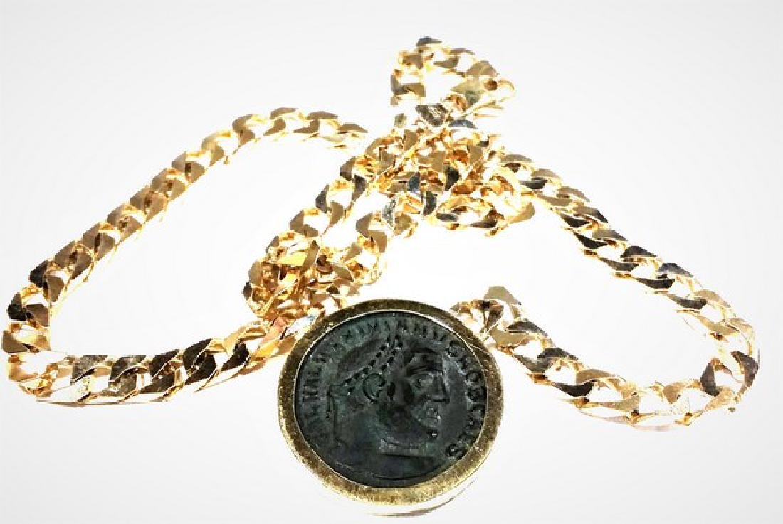 Ancient Roman Coin in 14K Gold w. Chain (Estate) - 2